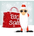 Santa Claus wiyh a red big sale shopping bag vector image vector image
