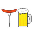 sausage and a mug of beer vector image vector image