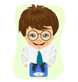 schoolboy with glasses weighing himself on scale vector image vector image