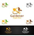 scoop gardener logo with green garden environment vector image vector image