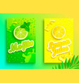 set of fresh lemon and mojito juices vector image vector image