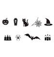 set of halloween icon symbols spider web spooky vector image