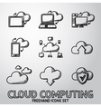 Set of handdrawn Cloud Computing icons vector image vector image