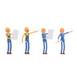 set of male and female worker planning vector image vector image