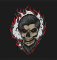skull man smoke vector image vector image