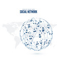 social network world wide web on earth map vector image vector image