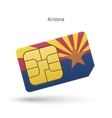 state arizona phone sim card with flag vector image vector image