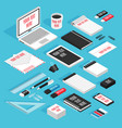 stationary isometric template mockup set vector image