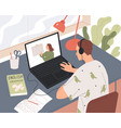 student learns online watching lesson vector image