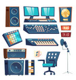 studio sound recording equipment set isolated vector image