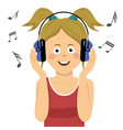 teenager girl listening to music in headphones vector image