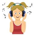 teenager girl listening to music in headphones vector image vector image