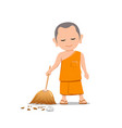 thai monk holding broom is leaf sweep vector image