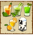 Useful set of cocktails from fruit and vegetables vector image vector image
