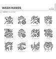 wash hand icon set vector image vector image