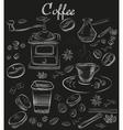 Hand-drawn chalk blackboard decorative coffee vector image