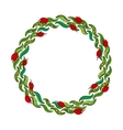 Hand drawn wreath with red flowers and green vector image