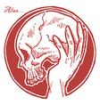 Hand Holding Skull vector image