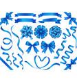 a set blue ribbons vector image vector image