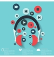 abstract musical background with flat web icons
