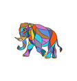 Angry Elephant Walking Mosaic vector image vector image