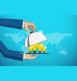 business hands open cloche to serve lightbulbidea vector image vector image