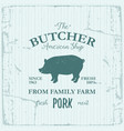butcher american shop label design with pork farm vector image vector image