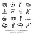 camping and outdoor outline icons - editable line vector image vector image