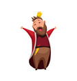 cartoon king wearing crown and mantle tired king vector image vector image