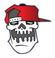 cartoon skull in baseball cap vector image
