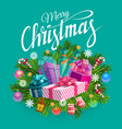 christmas gifts presents and xmas tree branches vector image