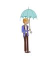 Close-up of boy holding umbrella vector image