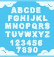 cloud font sky alphabet cloudy chubby letters vector image