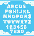 cloud font sky alphabet cloudy chubletters vector image vector image