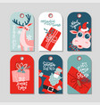 collection new year and christmas gift tags vector image