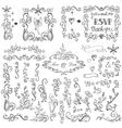 Doodles floral decor setBorderselementsFrame vector image vector image