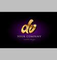 dv d v 3d gold golden alphabet letter metal logo vector image vector image