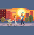 family walking with baby car at city sunset vector image