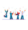 flat corporate work businessman dancing vector image
