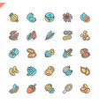 flat line nuts seeds and beans elements icons vector image