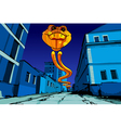 flying fiery serpent on the night street vector image vector image