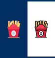fries fast food food usa icons flat and line vector image vector image