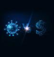 futuristic coronavirus vs financial market fight vector image vector image