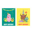 green and yellow birthday cards with monsters vector image