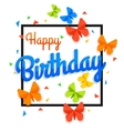 Happy Birthday Background with Paper Butterfly and vector image
