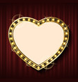 heart shape frame on background red curtains vector image vector image