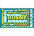 illinois state cities list vector image vector image
