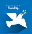 international peace day dove flying and olive vector image vector image