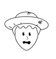 line cute man face with hat vector image vector image
