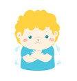 little boy with a cold shivering cartoon vector image vector image